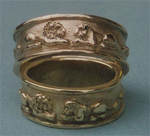 Lion Bas Relief Wedding Bands