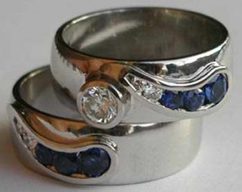 Platinum Diamond and Sapphire Wedding Set
