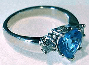 Heart Shaped London Blue Topaz Ring
