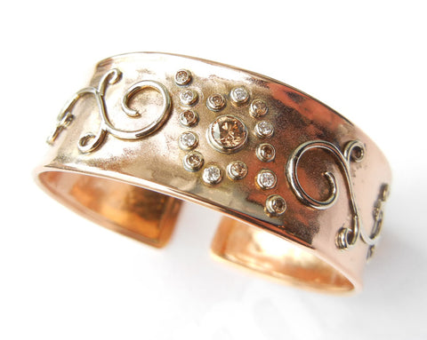 Rose Gold Cuff With Yellow Gold Scroll and Diamonds