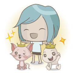 LINE CREATOR STICKER: Hooman with Cat & baby