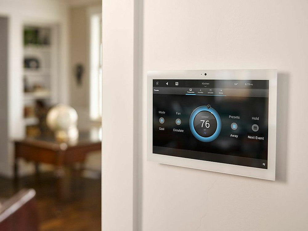 Smart home touch screen control to control lighting, heating and entertainment systems in your home