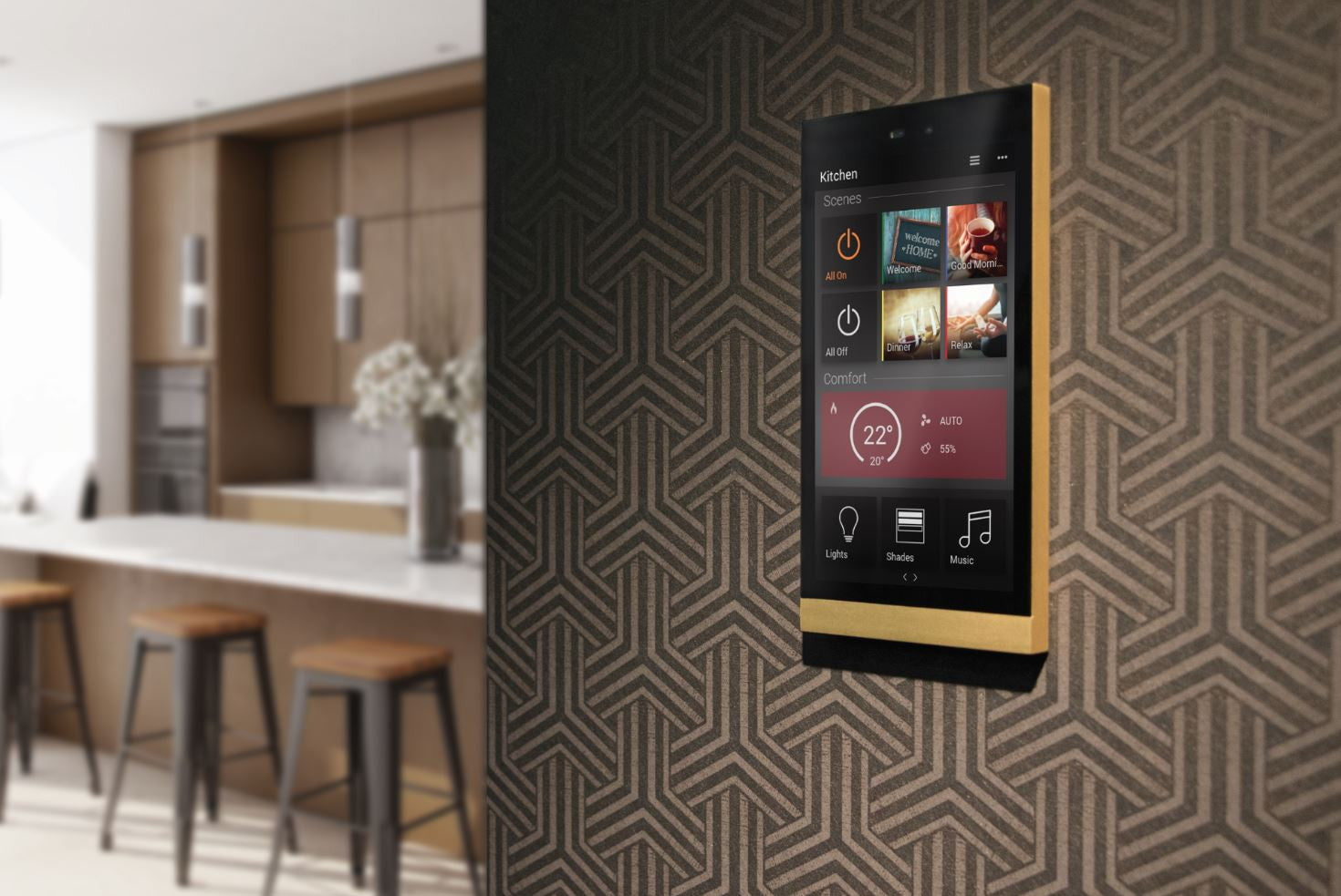 Baslate metal finish touch screen for smart home control
