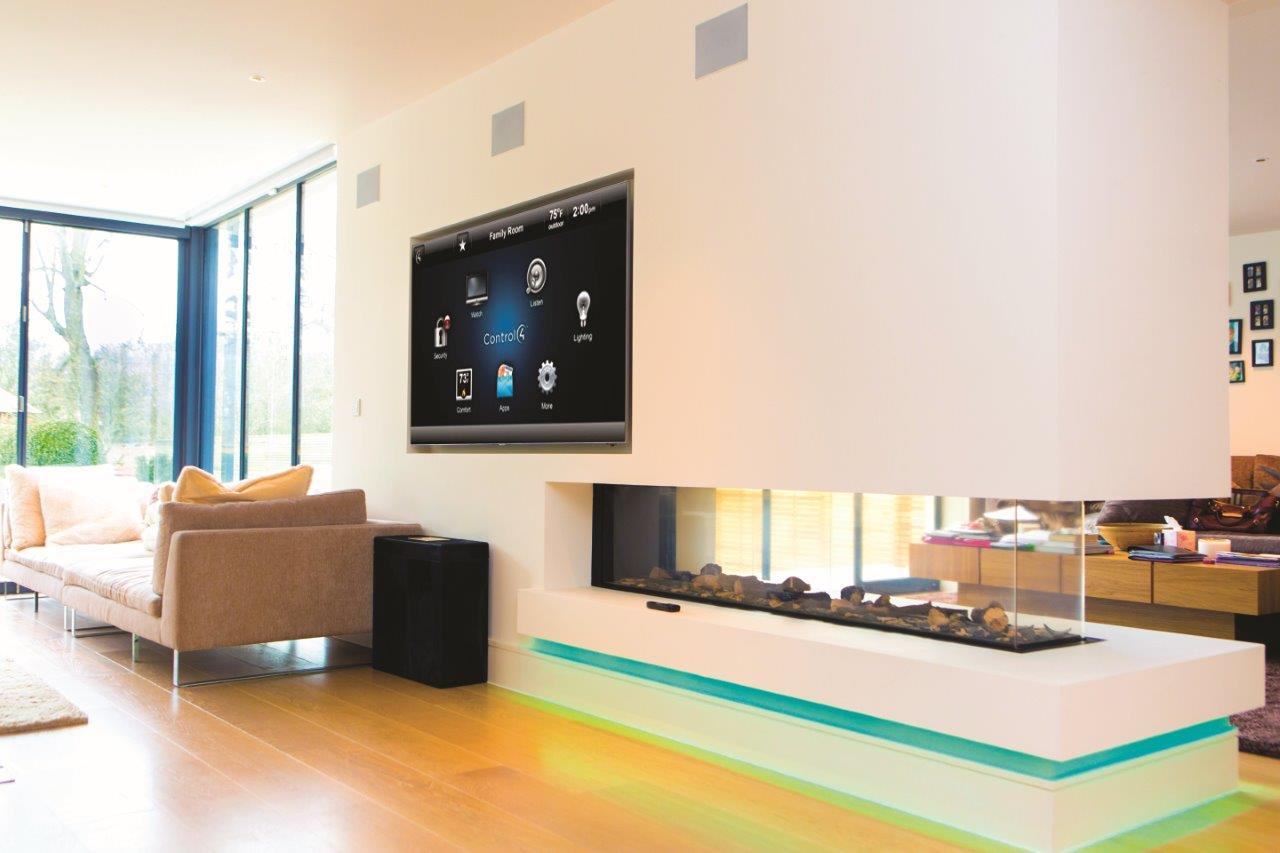 Living room with Control 4 on TV screen