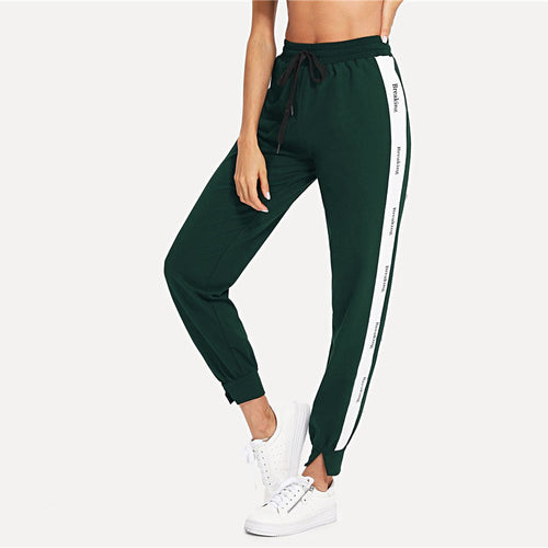 Green Letter Print Contrast Track Pant