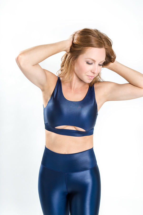 Shine V-Back Bra - Navy