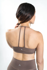 Suede T-Back Bra- Sand