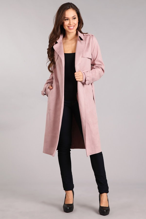 Faux Suede Mauve Trench Coat