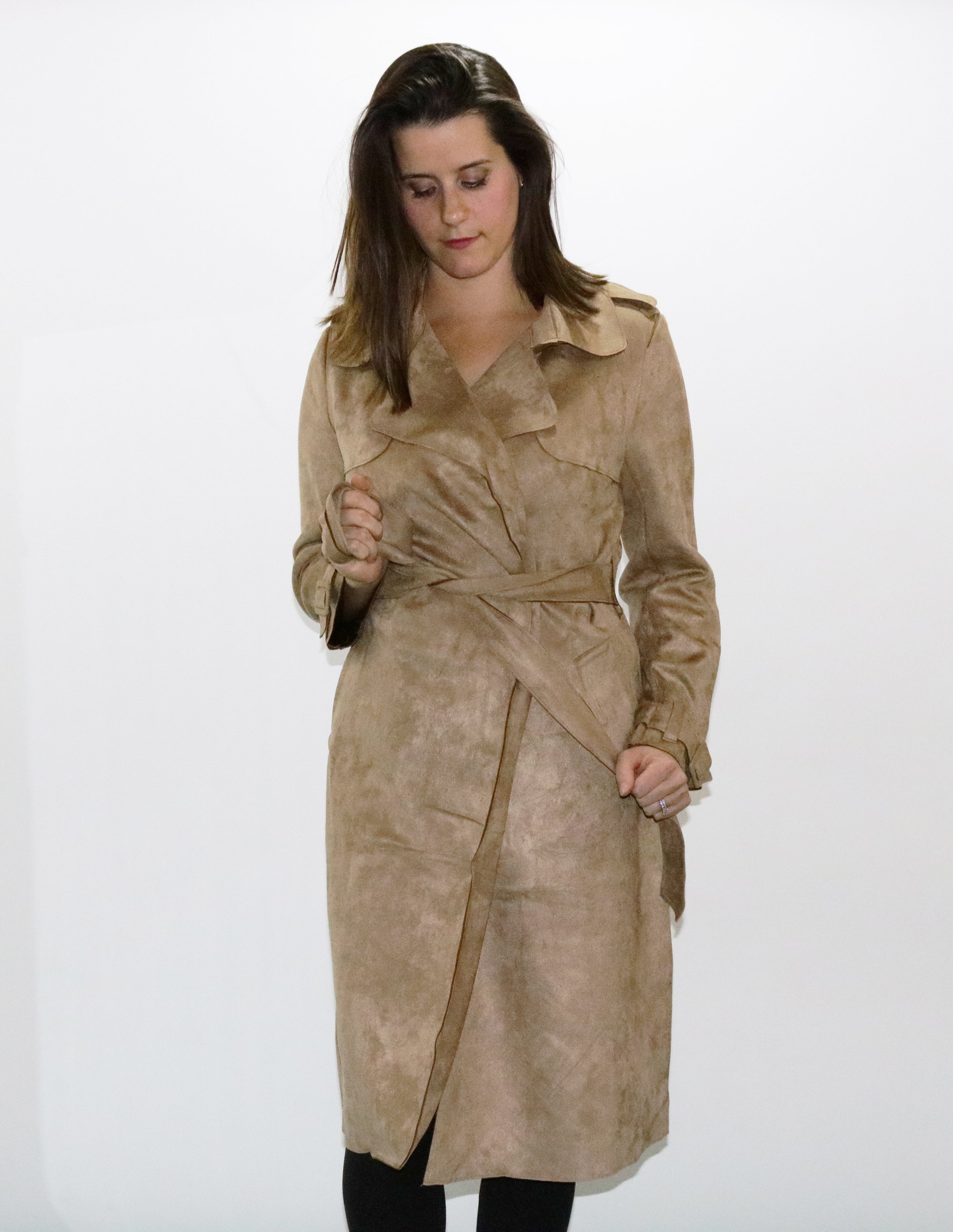 Faux Suede Camel Trench Coat