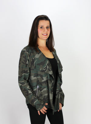 Camo Sweater Moto Jacket