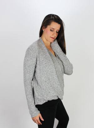 DownEast Gray Wrap Sweater Top