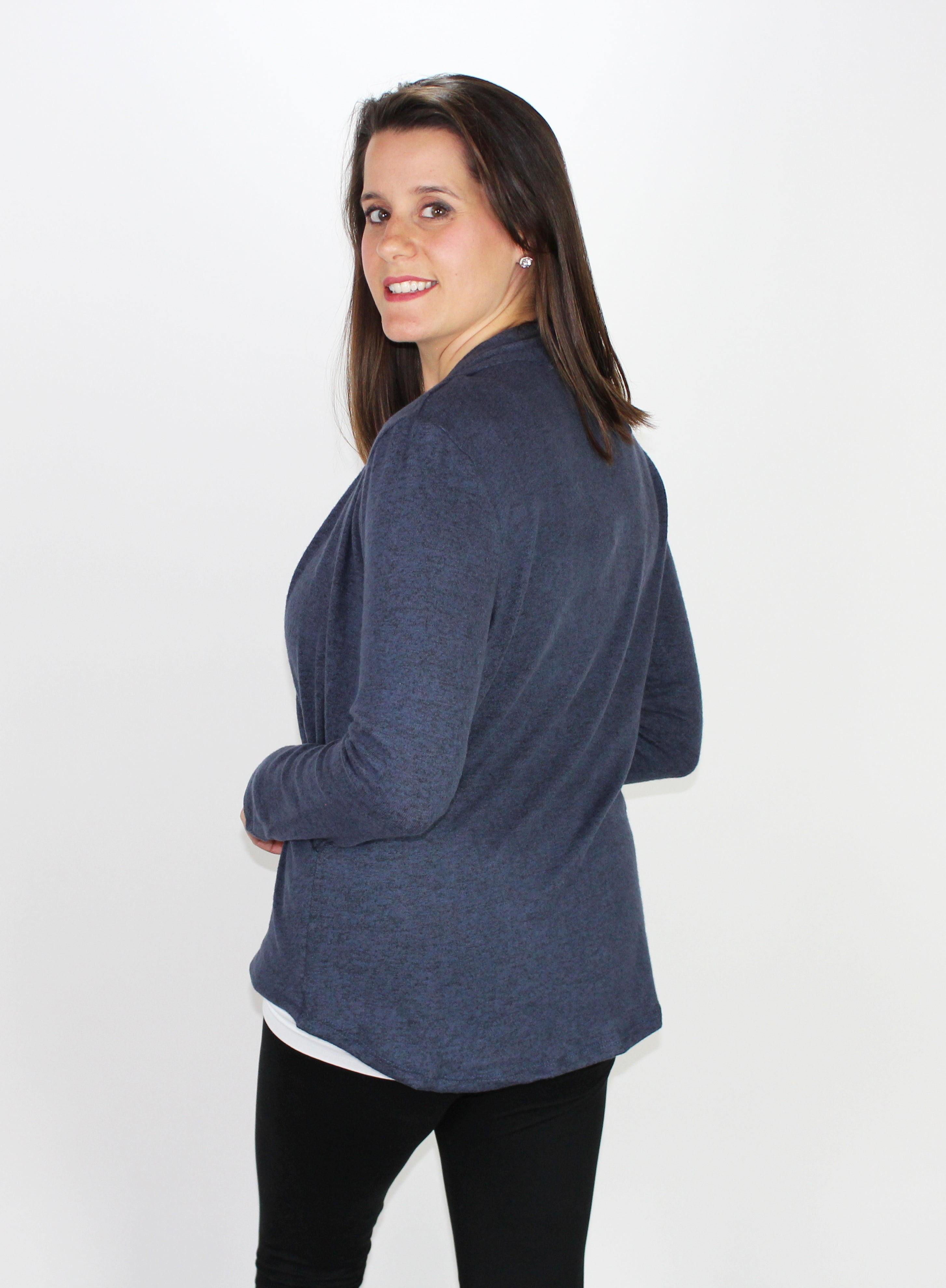 DownEast Navy Wrap Sweater Top
