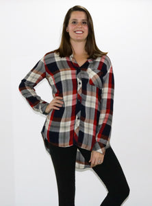 Button down plaid shirt full bust
