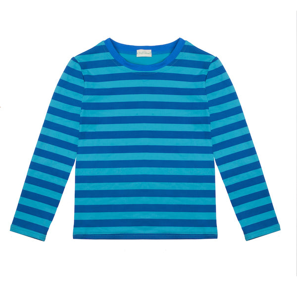 Albert Tee-shirt à manches longues - Stripes Sea Blue Ocean