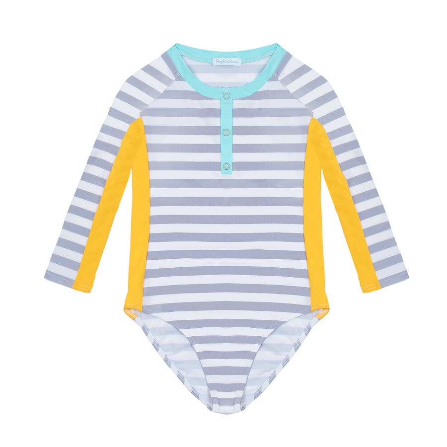 June Stripes Pale Grey - Body à manches longues SPF50