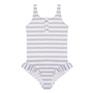 Lina Stripes Pale Grey - One piece swimsuit with ruffles
