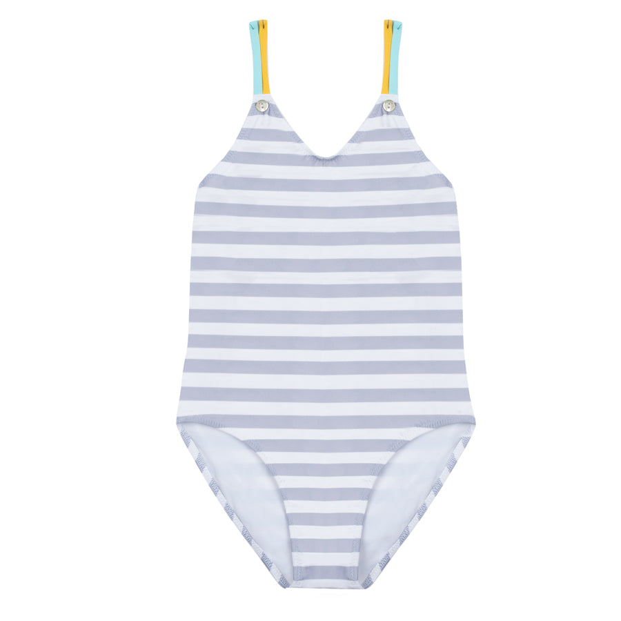 Lisa - One piece striped swimsuit - Pale grey