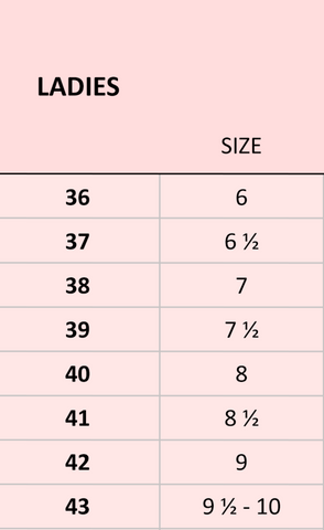 Europe Shoe Heel Size Guide Chart