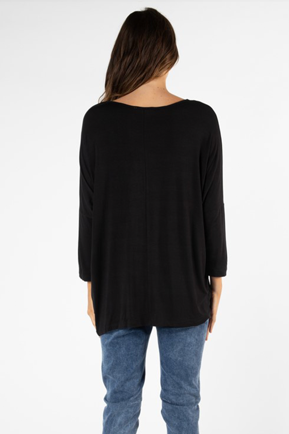 Atlanta 3/4 Sleeve Top by Betty Basic- Black