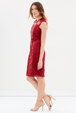 Bariano Nora Cap Sleeve Dress in Wine