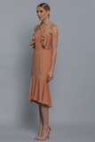 Bariano Kendall Frill Dress in Blush
