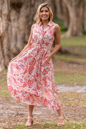 Barker Tier Dress by Boho Australia - Pink/Floral