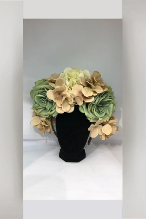 Fascinator hand made from Tasmania - Nude/Green