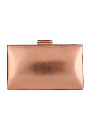 Box Clutch Purse with Metal Hardware in Gold, Rose Gold and Silver