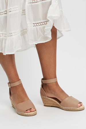 Helene Leather Wedge Heel by Human Premium - Nude