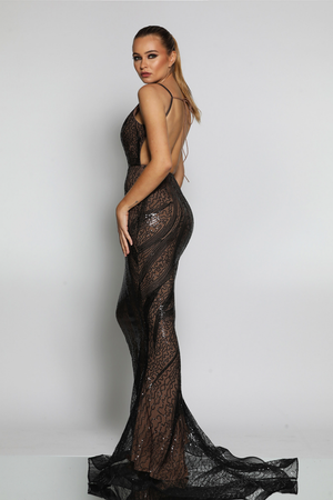 Jadore Gown in Black/Nude - JX1020