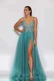 Jadore Sequin Bodice Gown in Aqua - JX2099