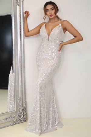 Jadore Gown JX111 - Silver/Nude