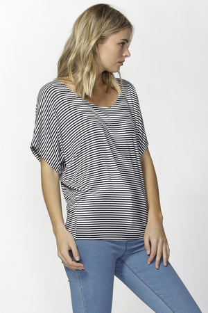 Maui Tee by Betty Basics - Navy/White Stripe