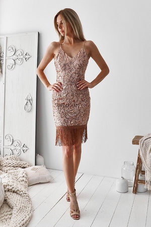 Montana Sequin Dress by TwoSisters The Label in Rose Gold