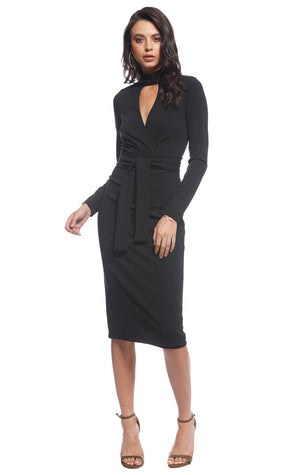 Pasduchas Dallas Wrap Midi Dress in Moss or Black