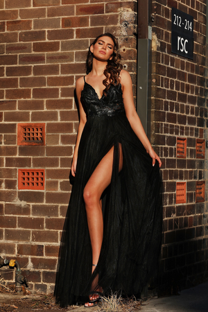 Jadore Lace and Tulle Gown in Black - JX3004