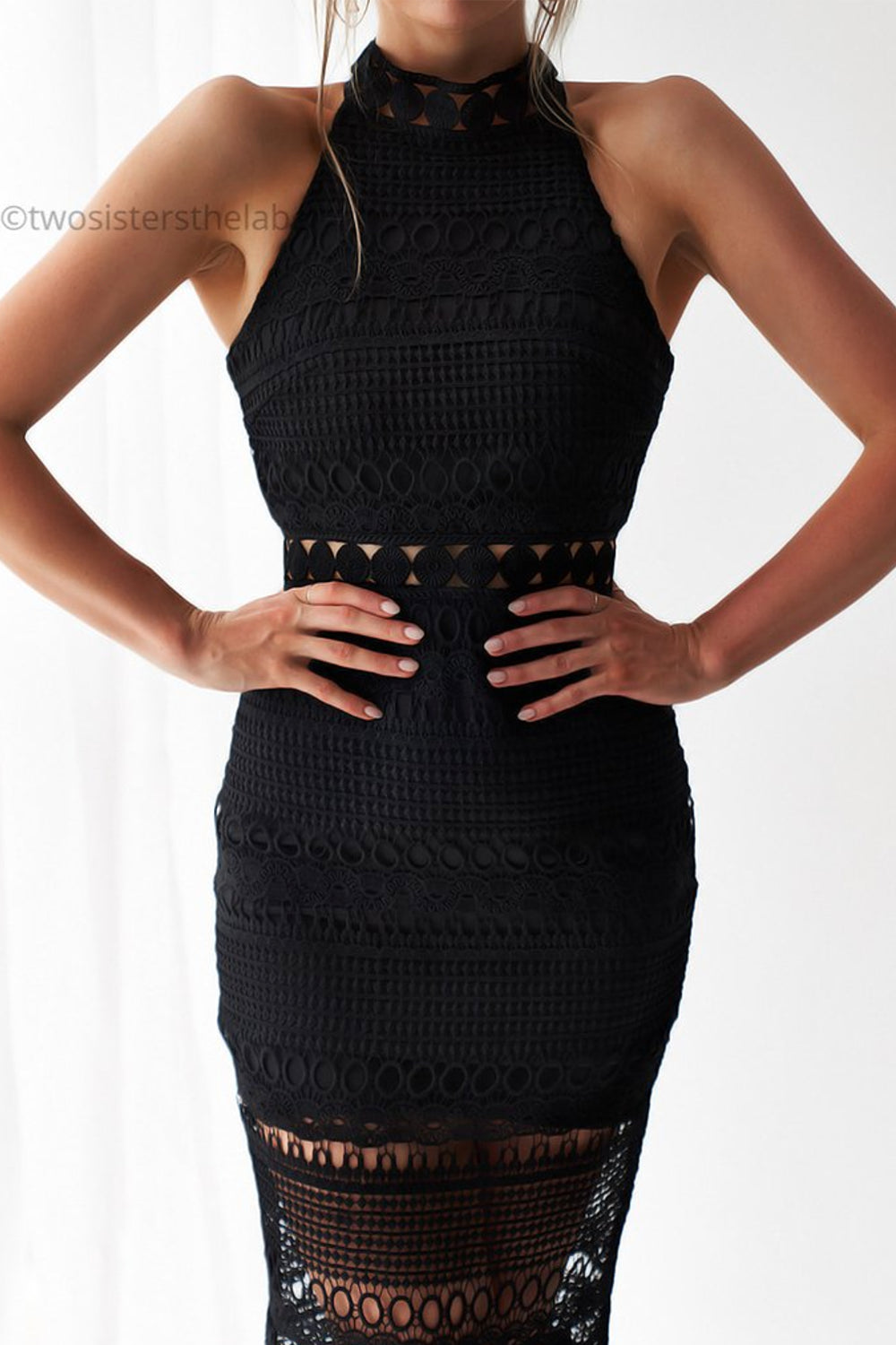 Twosisters Rivers Midi Dress in Black