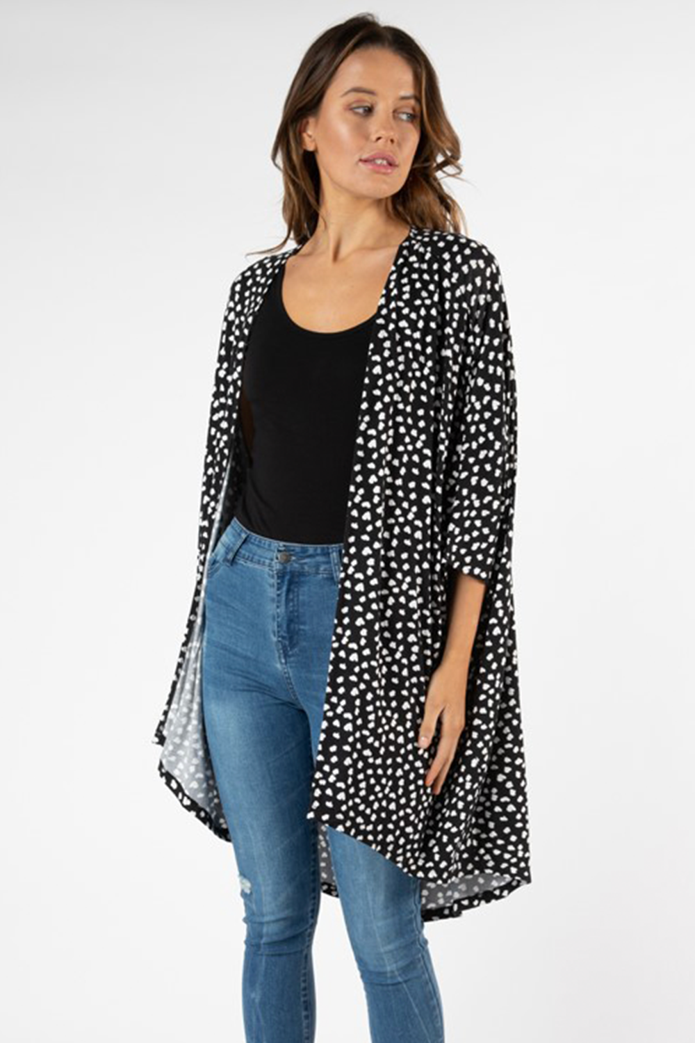 Valencia Cardigan by Betty Basics - heart ocelot