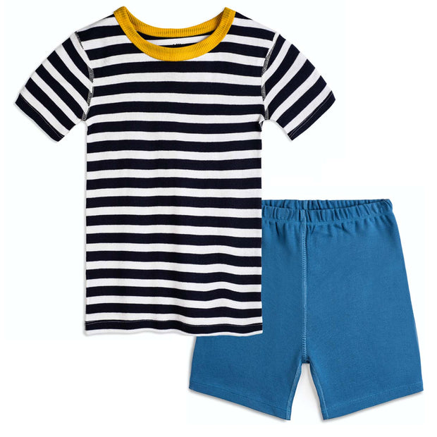Navy and White Stripe 100% Organic Cotton Pajama Short Set
