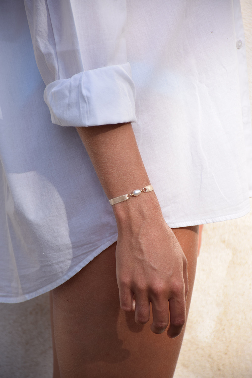 Bracelet ruban de satin |  Beige calisson