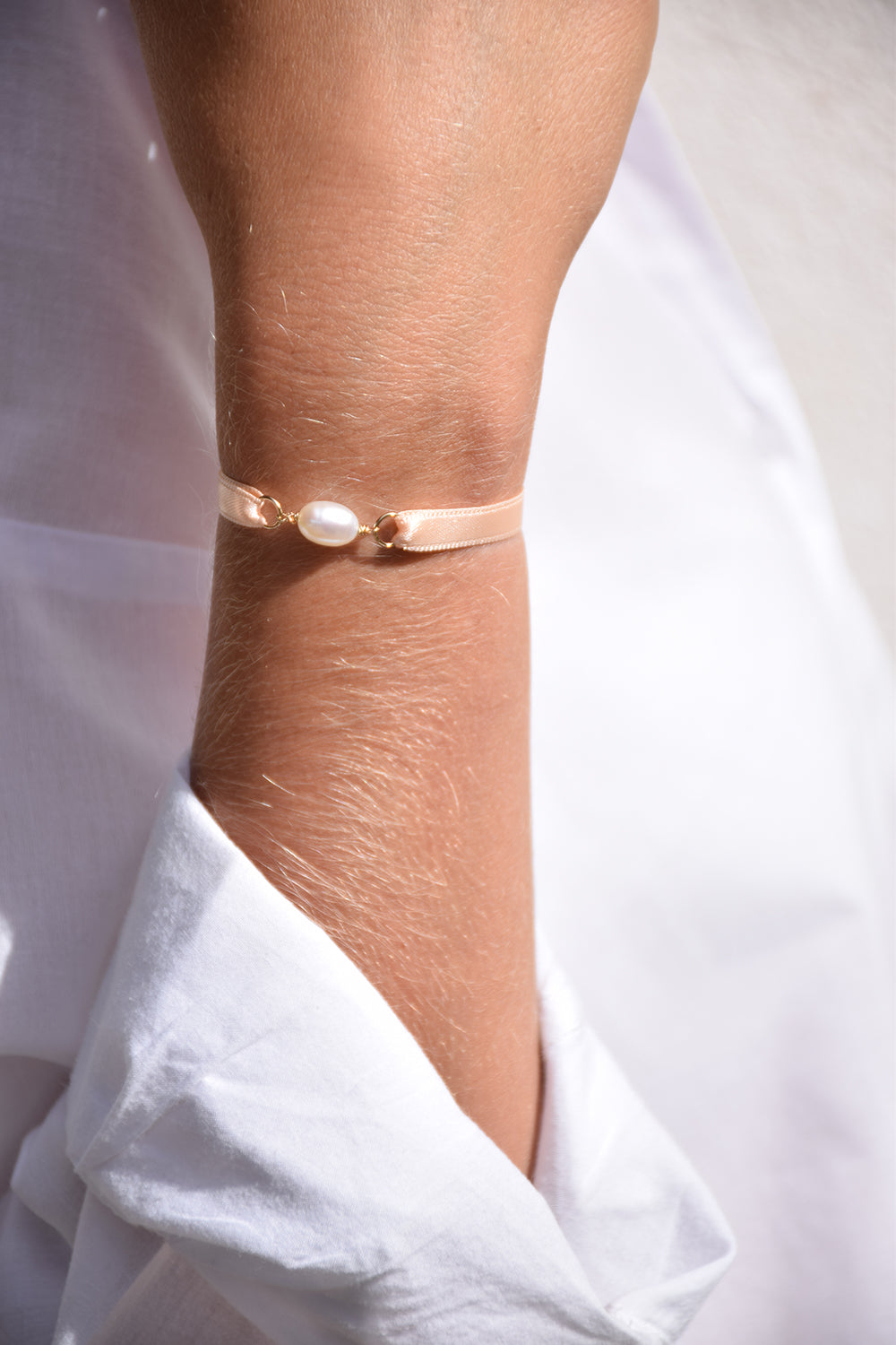 Bracelet ruban satin | Rose sorbet