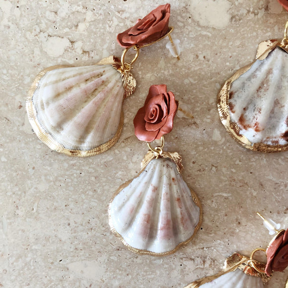 Rebirth | Floral + Seashell earrings