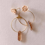 Peachy Quartz |2-in-1 Hoop earrings