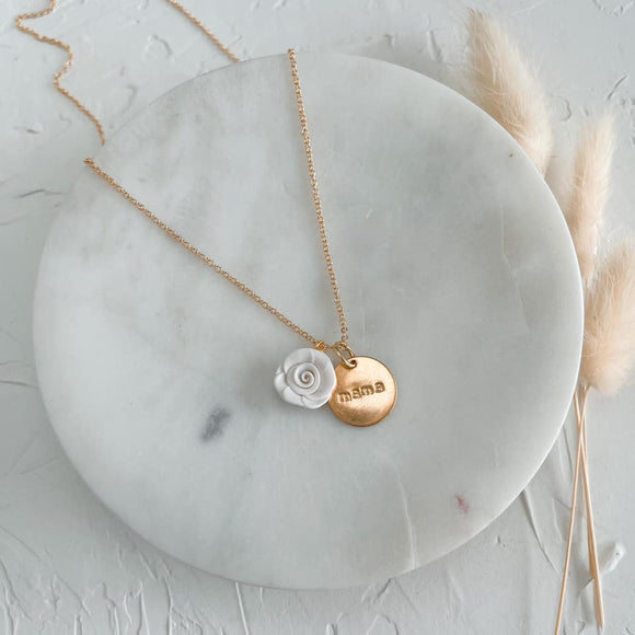 MAMA necklace | dainty coin & flower necklace
