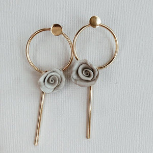 MoonLight | modern gray flower earring