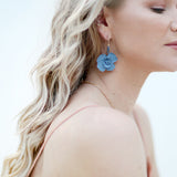 Blue Pincushion | Glass bead earrings 18K Gold