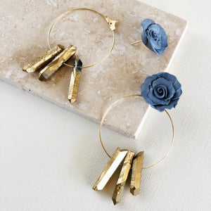 Blue Quartz | 2-in-1 Hoop earrings
