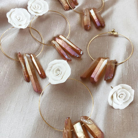 The Rose Quartz | 2 in 1 hoop earrings