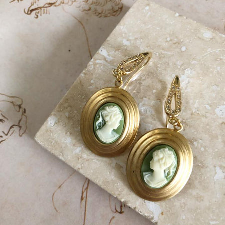Poesia | sage cameo earrings
