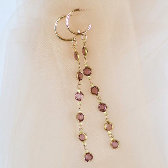 Damsel | mauve crystal earrings